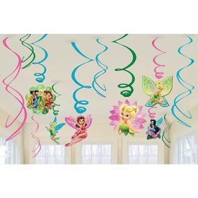 Tinkerbell Plastic Swirl Hanging Decorations (12 Pack)