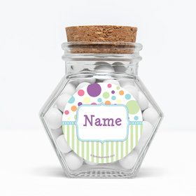 "Tiny Bundle Blue Personalized 3"" Glass Hexagon Jars (Set of 12)"