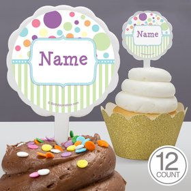 Tiny Bundle Blue Personalized Cupcake Picks (12 Count)