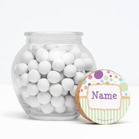 "Tiny Bundle Neutral Personalized 3"" Glass Sphere Jars (Set of 12)"