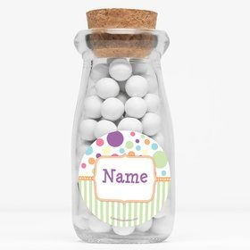 "Tiny Bundle Neutral Personalized 4"" Glass Milk Jars (Set of 12)"