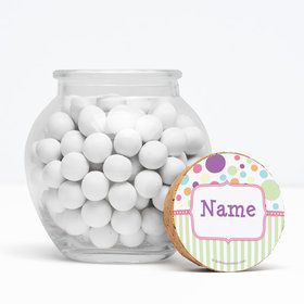 "Tiny Bundle Pink Personalized 3"" Glass Sphere Jars (Set of 12)"