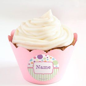 Tiny Bundle Pink Personalized Cupcake Wrappers (Set of 24)