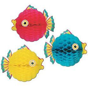 "Tissue Bubble Fish 12"" Decorations Asst. (Each)"