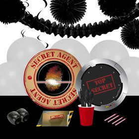 Top Secret Spy 16 Guest Party Pack Decoration Kit