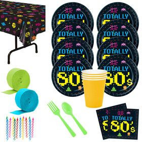 Totally 80's Deluxe Party Tableware Kit Serves 8