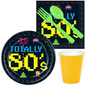 Totally 80's Party Standard Tableware Kit Serves 8