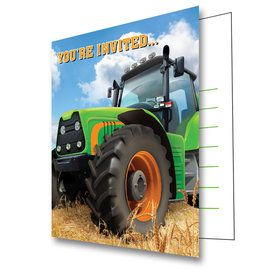 Tractor Time Birthday Party Invitations (8 Count)