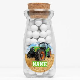 "Tractor Time Personalized 4"" Glass Milk Jars (Set of 12)"