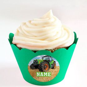 Tractor Time Personalized Cupcake Wrappers (Set of 24)