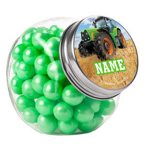 Tractor Time Personalized Plain Glass Jars (12 Count)