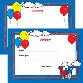 Train Party Personalized Thank You Note (each)