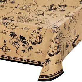 "Treasure Island Pirate Plastic Tablecover 54"" x 102"" (1)"
