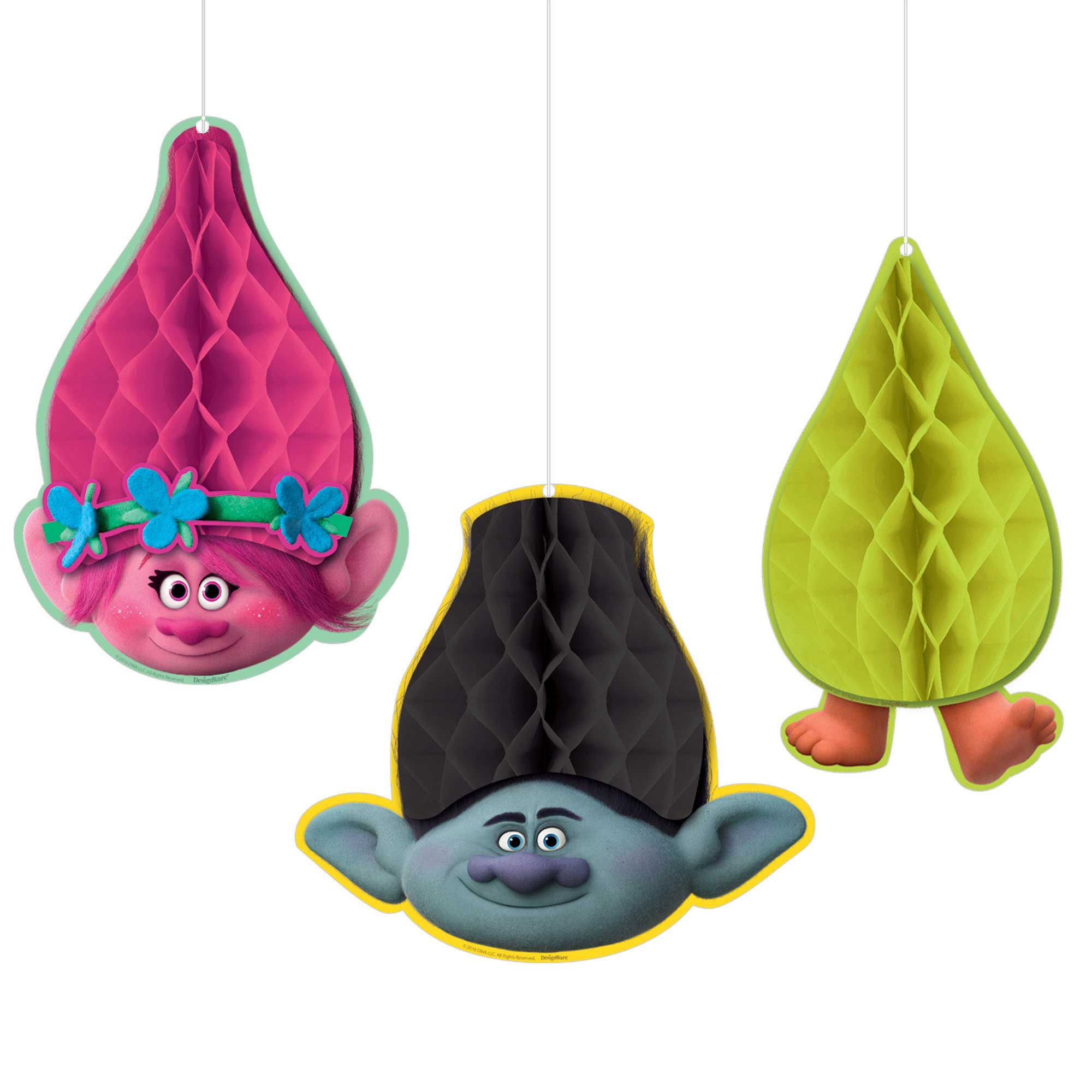 Trolls Honeycomb Decorations (4) 13051702373 | eBay