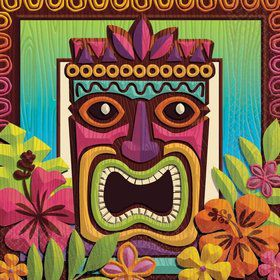 Tropical Tiki Beverage Napkins (125 Pack)