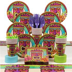 Tropical Tiki Party Deluxe Tableware Kit Serves 60