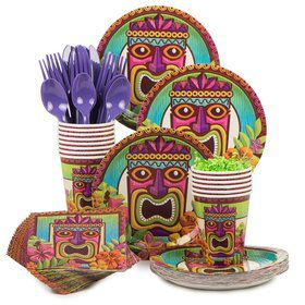 Tropical Tiki Party Standard Tableware Kit Serves 60