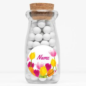 "Tulips Personalized 4"" Glass Milk Jars (Set of 12)"