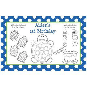 Turtle Party Personalized Activity Mats (8-Pack)