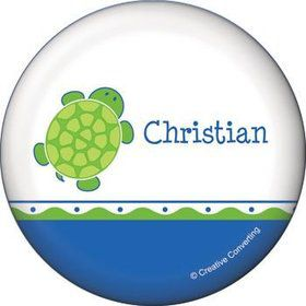 Turtle Party Personalized Button (each)