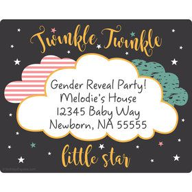 Twinkle Twinkle How We Wonder Gender Reveal Personalized Rectangular Stickers (Sheet of 15)