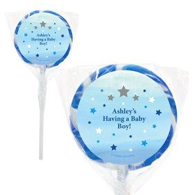 "Twinkle Twinkle Little Star Blue Personalized 2"" Lollipops (20 Pack)"