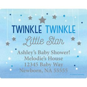 Twinkle Twinkle Little Star Blue Personalized Address Labels (Sheet of 15)
