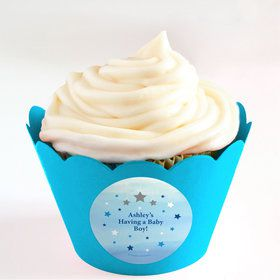 Twinkle Twinkle Little Star Blue Personalized Cupcake Wrappers (Set of 24)