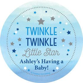Twinkle Twinkle Little Star Blue Personalized Stickers (Sheet of 12)