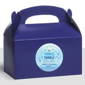 Twinkle Twinkle Little Star Blue Personalized Treat Favor Boxes (12 Count)