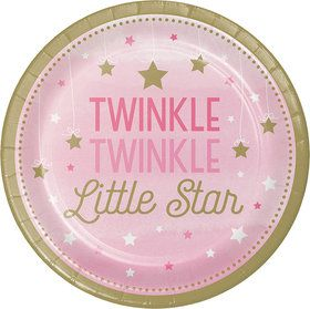"Twinkle Twinkle Little Star Pink 9"" Dinner Plates (8)"