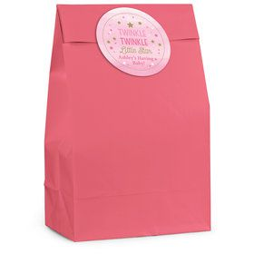 Twinkle Twinkle Little Star Pink Personalized Favor Bag (12 Pack)