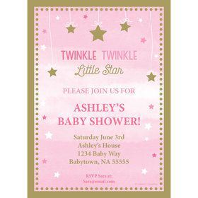 Twinkle Twinkle Little Star Pink Personalized Invitation (Each)