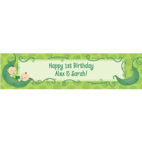 Twin's 1st Birthday Personalized Banner (each)