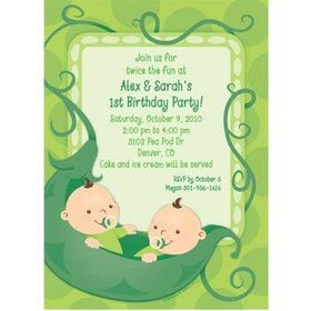 Twin's 1st Birthday Personalized Invitation (each)