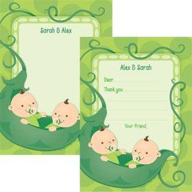 Twin's 1st Birthday Personalized Thank You Note (each)