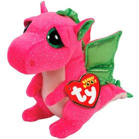 Ty Beanie Boo Darla Pink Dragon Plush (Medium)