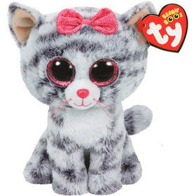 Ty Beanie Boo Kiki Grey Cat Plush (Medium)