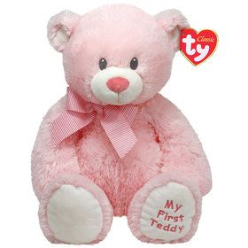 "Ty Pluffies Sweet Baby 8"" Pink Bear"