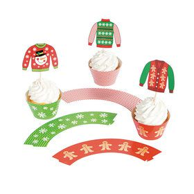 Ugly Sweater Cupcake Collars With Picks (50)