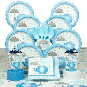 Umbrellaphants Blue Baby Shower Deluxe Tableware Kit (Serves 8)