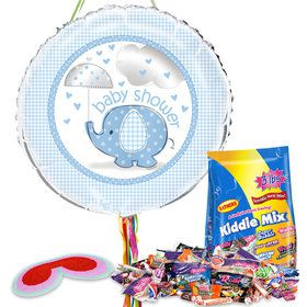 Umbrellaphants Blue Baby Shower Pull String Economy Pinata Kit