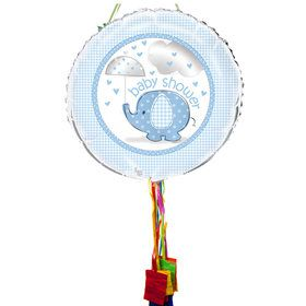 Umbrellaphants Blue Baby Shower Pull String Pinata