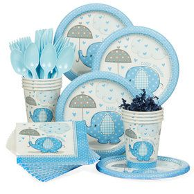 Umbrellaphants Blue Baby Shower Standard Tableware Kit (Serves 8)