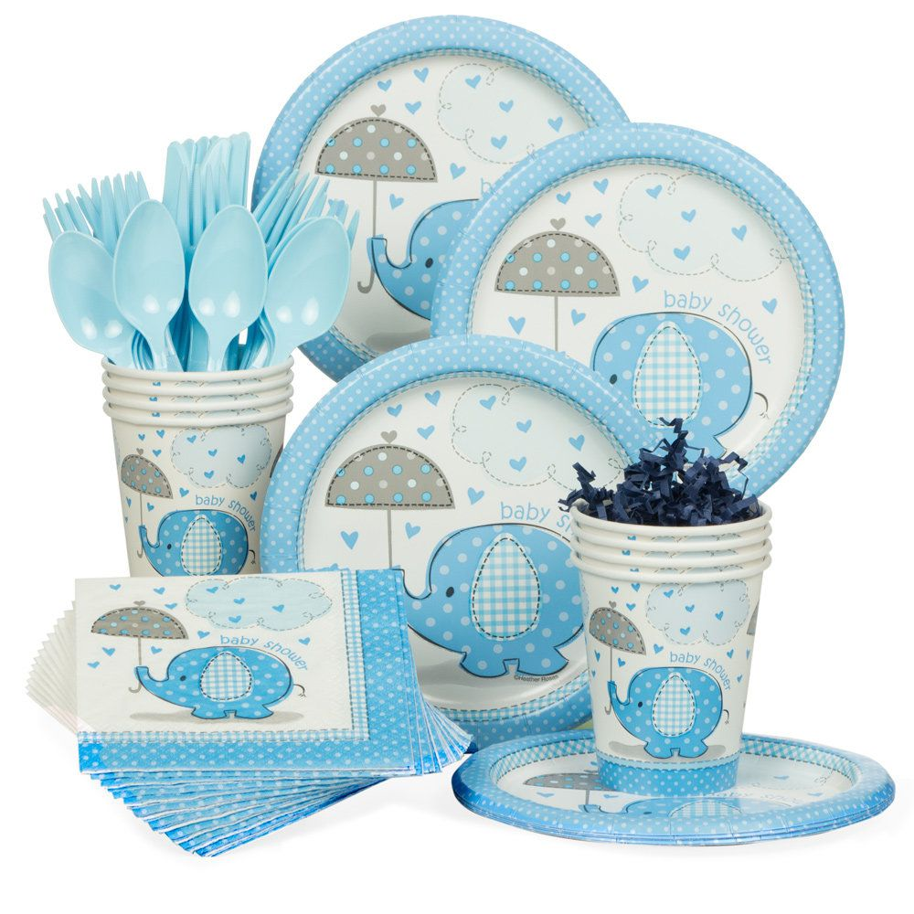 umbrellaphants blue baby shower standard tableware kit serves 8 tableware kits themed. Black Bedroom Furniture Sets. Home Design Ideas