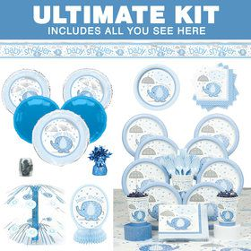 Umbrellaphants Blue Baby Shower Ultimate Tableware Kit (Serves 8)