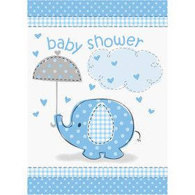 Umbrellaphants Blue Birthday Party Invitations (8 Count)