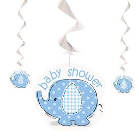 Umbrellaphants Blue Hanging Swirl Decorations (3 Count)