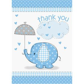Umbrellaphants Blue Thank You Cards (8 Count)
