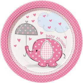 "Umbrellaphants Pink 7"" Cake Plates (8 Count)"